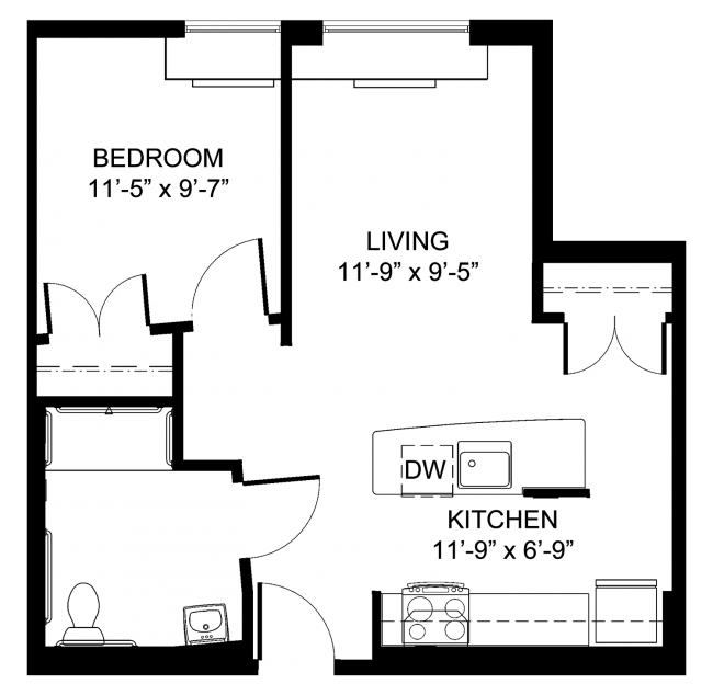 Barrier Free One Bedroom Floor Plan
